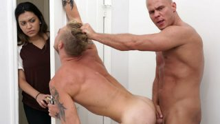 Pervy muscle daddy bangs young hot blonde gay dude